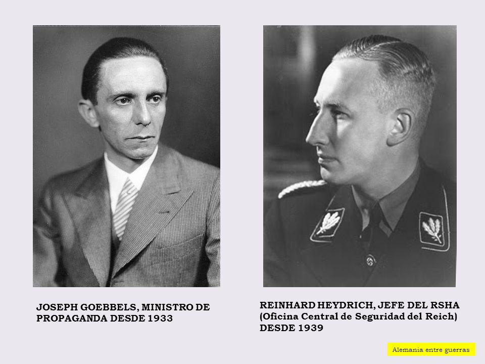 REINHARD HEYDRICH, JEFE DEL RSHA (Oficina Central de Seguridad del Reich) DESDE 1939 JOSEPH GOEBBELS, MINISTRO DE PROPAGANDA DESDE 1933 Alemania entre