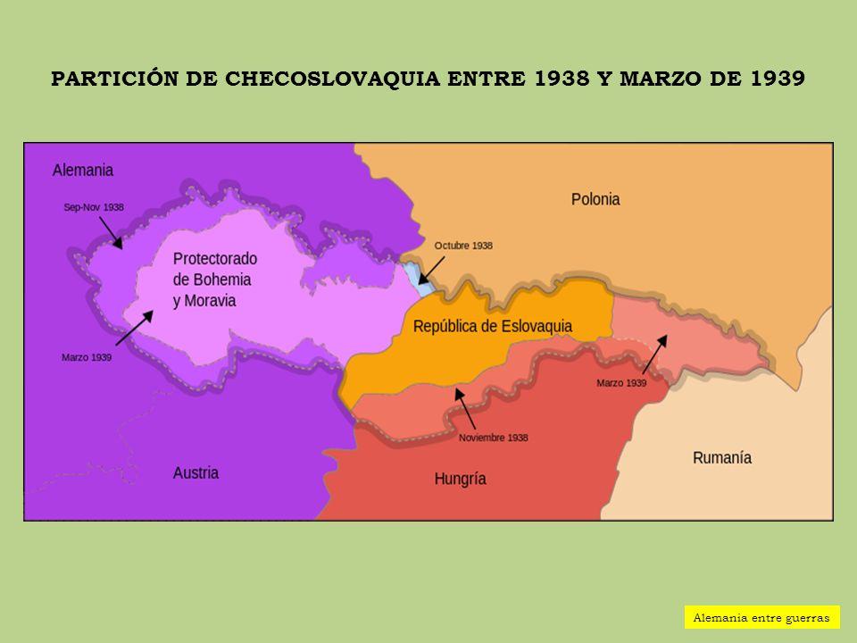 PARTICIÓN DE CHECOSLOVAQUIA ENTRE 1938 Y MARZO DE 1939 Alemania entre guerras
