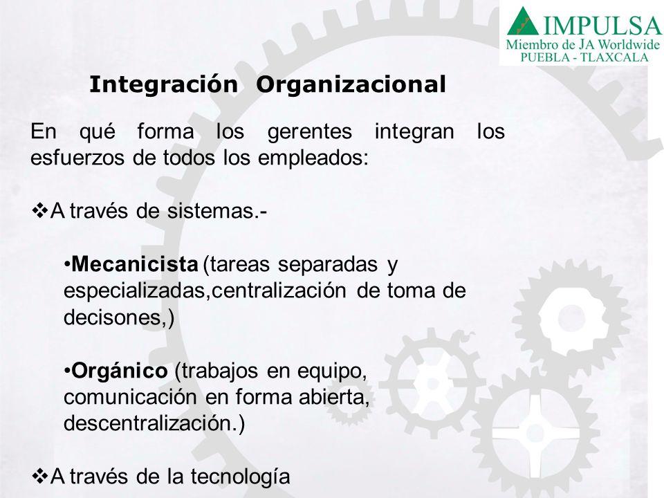 Integración Organizacional En qué forma los gerentes integran los esfuerzos de todos los empleados: A través de sistemas.- Mecanicista (tareas separad