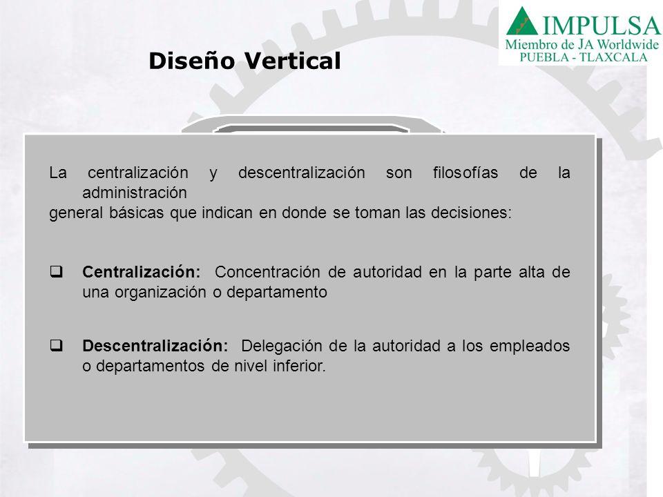 La centralización y descentralización son filosofías de la administración general básicas que indican en donde se toman las decisiones: Centralización