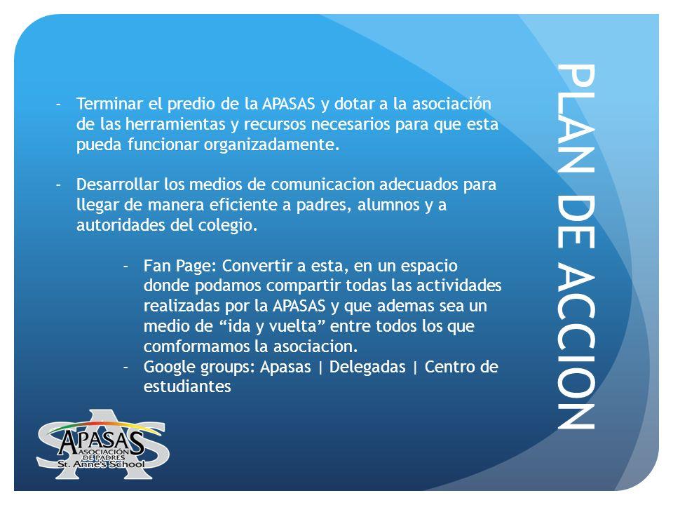 PLAN DE ACCION -Terminar el predio de la APASAS y dotar a la asociación de las herramientas y recursos necesarios para que esta pueda funcionar organi