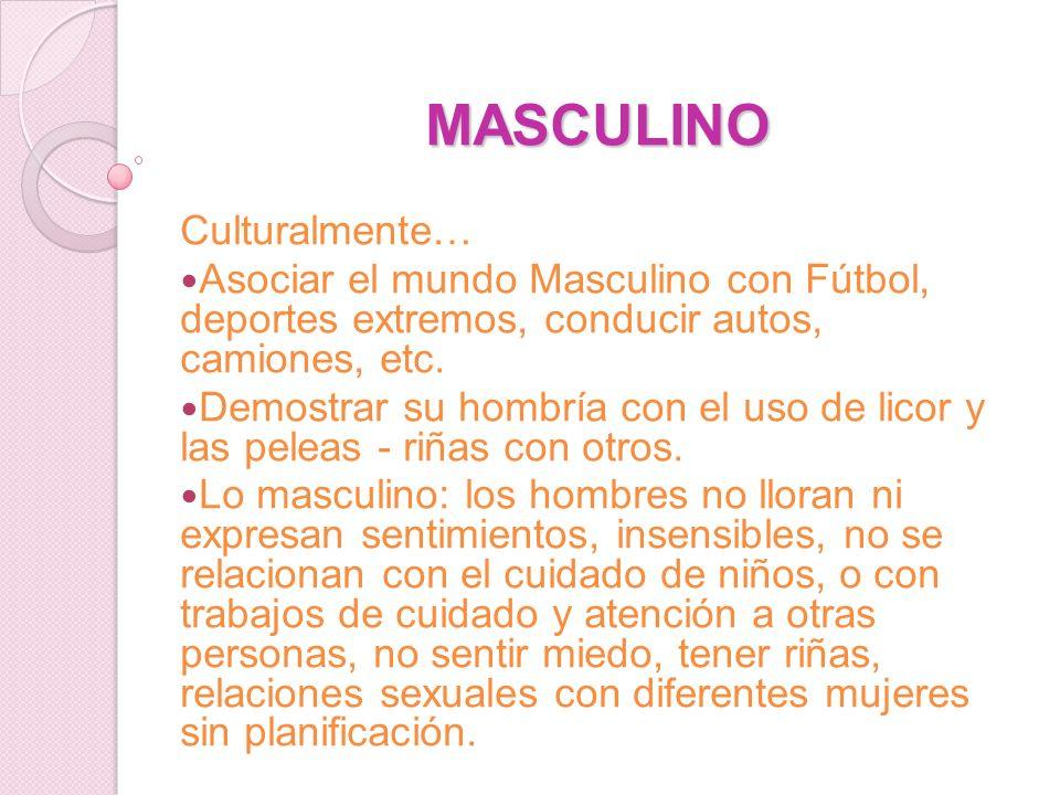 MASCULINO Culturalmente… Asociar el mundo Masculino con Fútbol, deportes extremos, conducir autos, camiones, etc. Demostrar su hombría con el uso de l