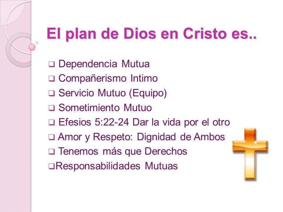 El plan de Dios en Cristo es.. Dependencia Mutua Compañerismo Intimo Servicio Mutuo (Equipo) Sometimiento Mutuo Efesios 5:22-24 Dar la vida por el otr