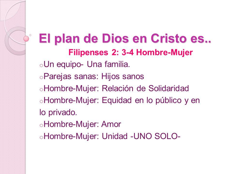 El plan de Dios en Cristo es.. Filipenses 2: 3-4 Hombre-Mujer o Un equipo- Una familia. o Parejas sanas: Hijos sanos o Hombre-Mujer: Relación de Solid