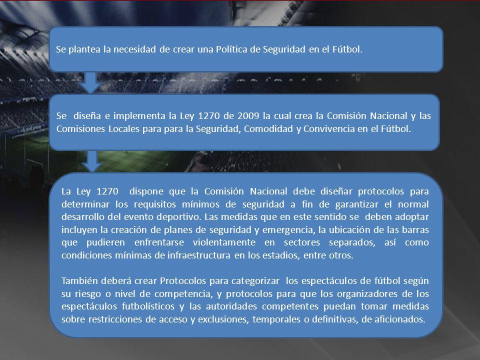 Se plantea la necesidad de crear una Política de Seguridad en el Fútbol. Se diseña e implementa la Ley 1270 de 2009 la cual crea la Comisión Nacional
