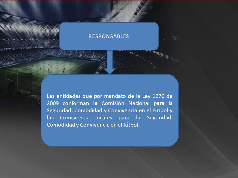 Las entidades que por mandato de la Ley 1270 de 2009 conforman la Comisión Nacional para la Seguridad, Comodidad y Convivencia en el Fútbol y las Comi