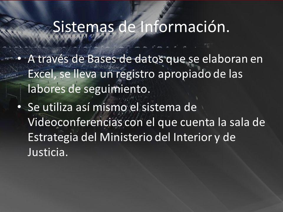 Sistemas de Información. A través de Bases de datos que se elaboran en Excel, se lleva un registro apropiado de las labores de seguimiento. Se utiliza