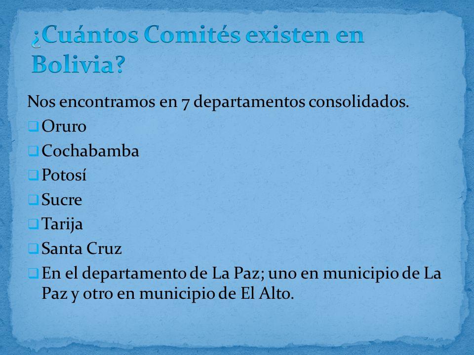 Nos encontramos en 7 departamentos consolidados. Oruro Cochabamba Potosí Sucre Tarija Santa Cruz En el departamento de La Paz; uno en municipio de La