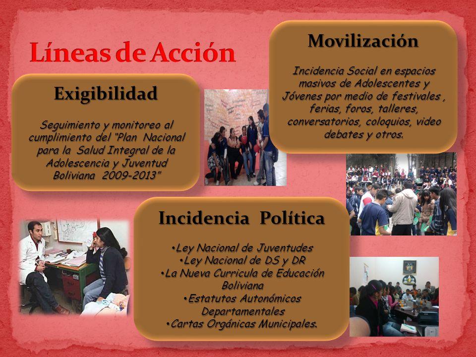 Exigibilidad Seguimiento y monitoreo al cumplimiento del Plan Nacional para la Salud Integral de la Adolescencia y Juventud Boliviana 2009-2013 Exigib