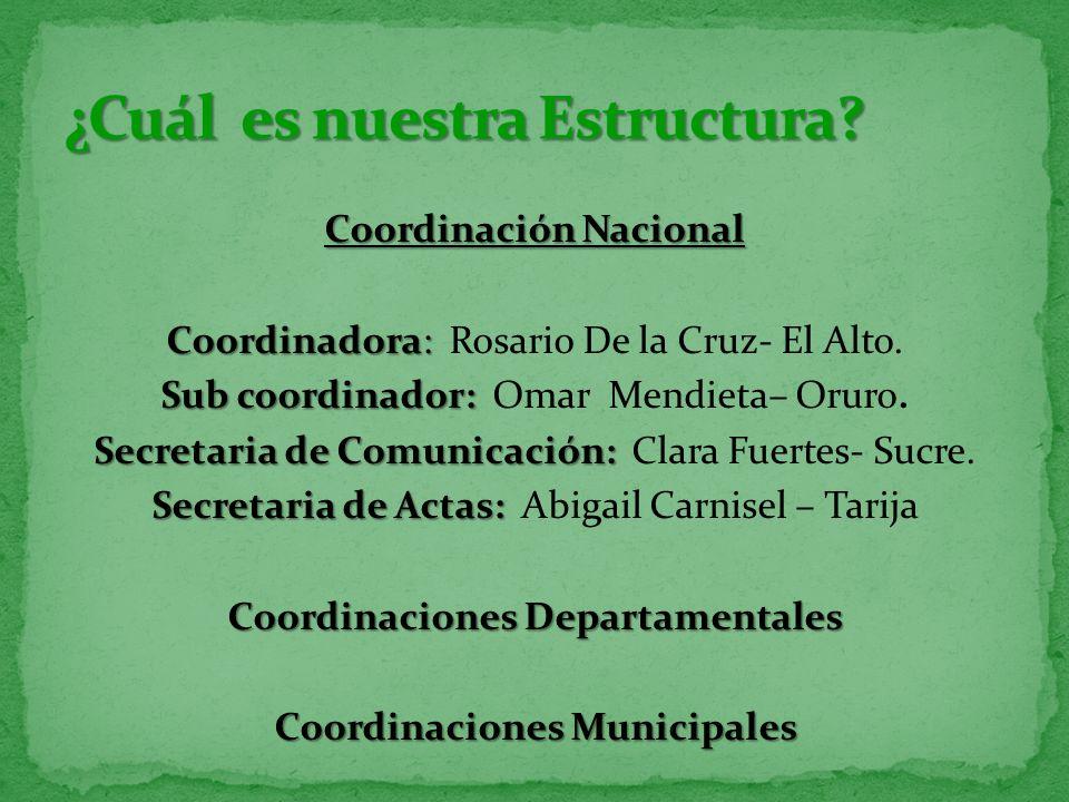 Coordinación Nacional Coordinadora: Coordinadora: Rosario De la Cruz- El Alto. Sub coordinador: Sub coordinador: Omar Mendieta– Oruro. Secretaria de C