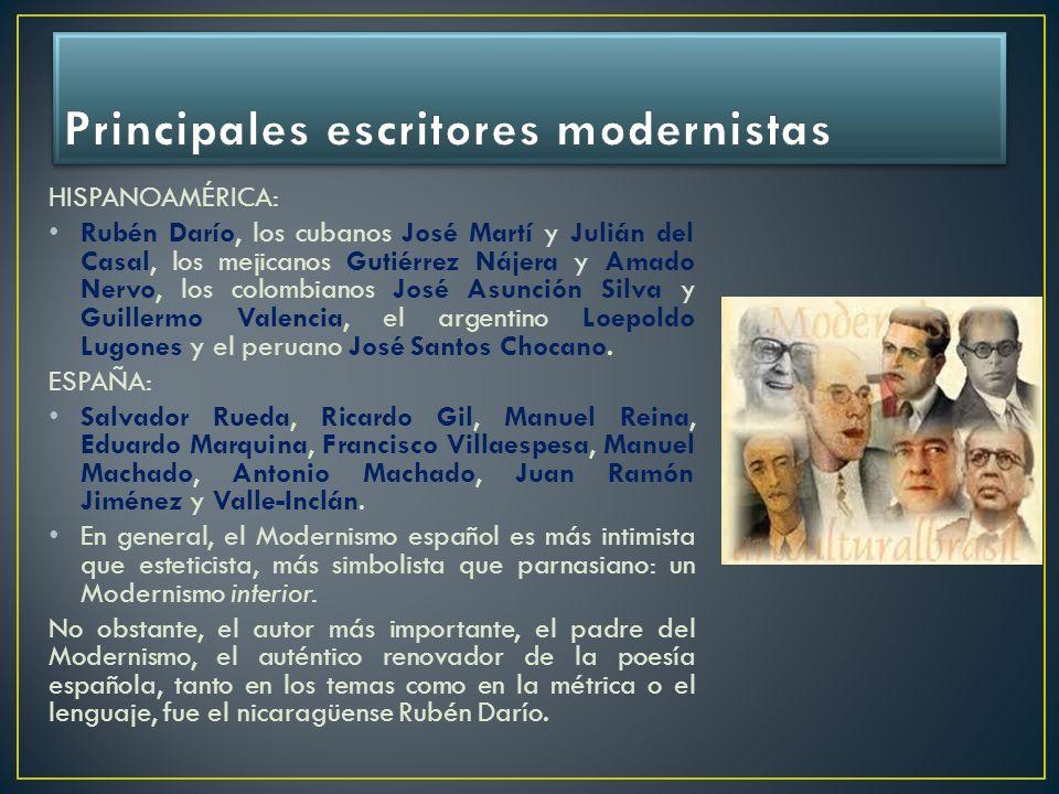 HISPANOAMÉRICA: Rubén Darío, los cubanos José Martí y Julián del Casal, los mejicanos Gutiérrez Nájera y Amado Nervo, los colombianos José Asunción Si