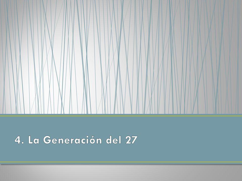Se da el nombre de Generación del 27 -para algunos simplemente un grupo, el Grupo poético del 27- a un conjunto de poetas que empezaron a publicar sus obras en la década de los años veinte.