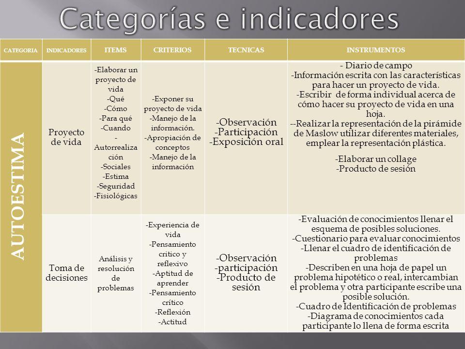 CATEGORIAINDICADORESITEMSCRITERIOSTECNICASINSTRUMENTOS ANIMACIÓN SOCIOCULTURAL Sociales - Desarrollo personal -Mesas redondas -Cursos -Educación de Adultos -Expresión oral.