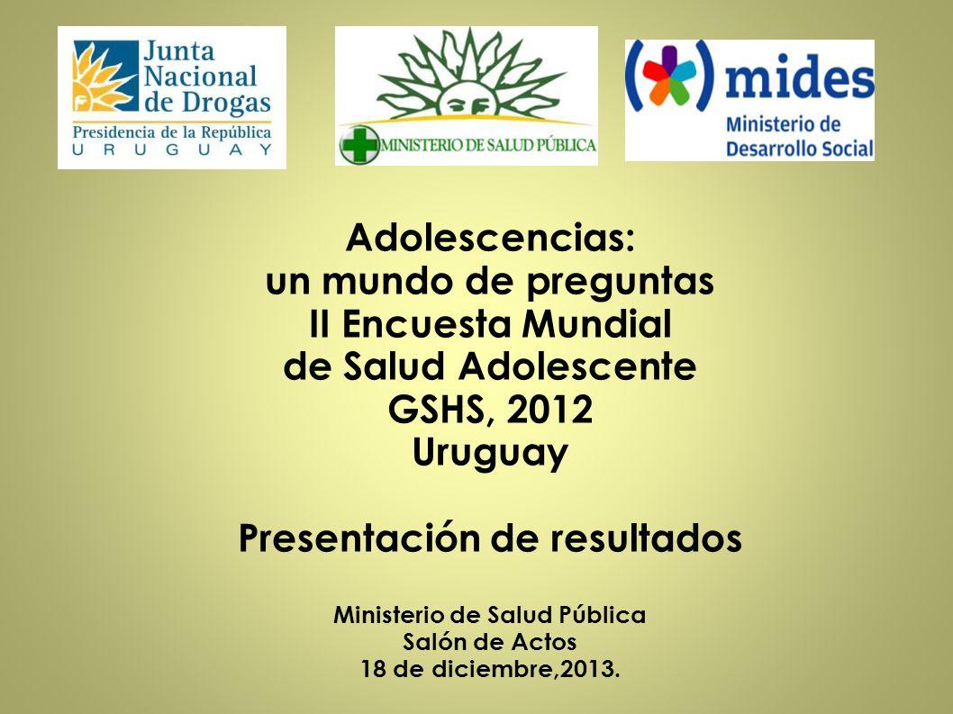 Adolescencias: un mundo de preguntas II Encuesta Mundial de Salud Adolescente GSHS, 2012 Uruguay Presentación de resultados Ministerio de Salud Públic
