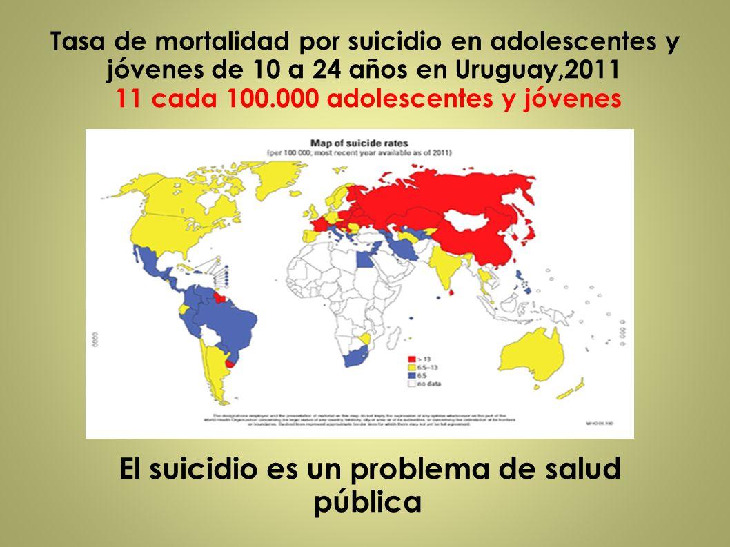 El suicidio es un problema de salud pública Tasa de mortalidad por suicidio en adolescentes y jóvenes de 10 a 24 años en Uruguay,2011 11 cada 100.000