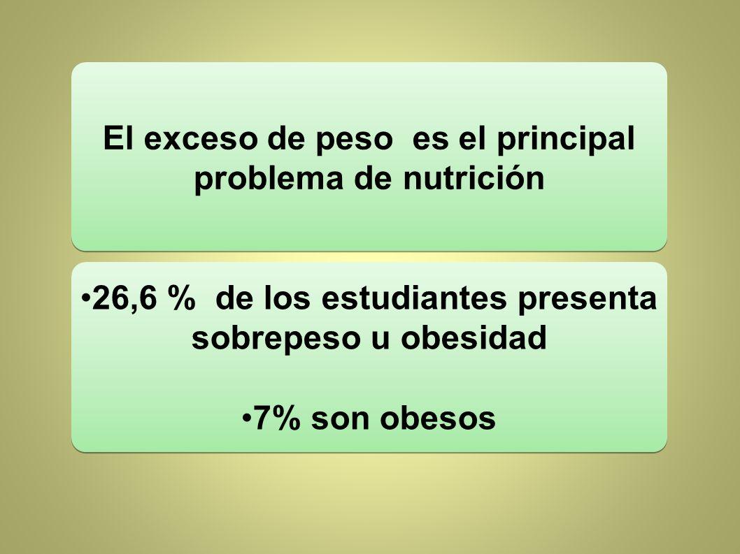 El exceso de peso es el principal problema de nutrición 26,6 % de los estudiantes presenta sobrepeso u obesidad 7% son obesos