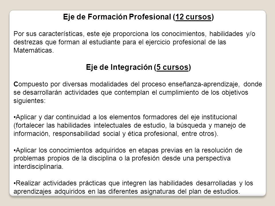 Eje de Formación Profesional (12 cursos) Por sus características, este eje proporciona los conocimientos, habilidades y/o destrezas que forman al estudiante para el ejercicio profesional de las Matemáticas.