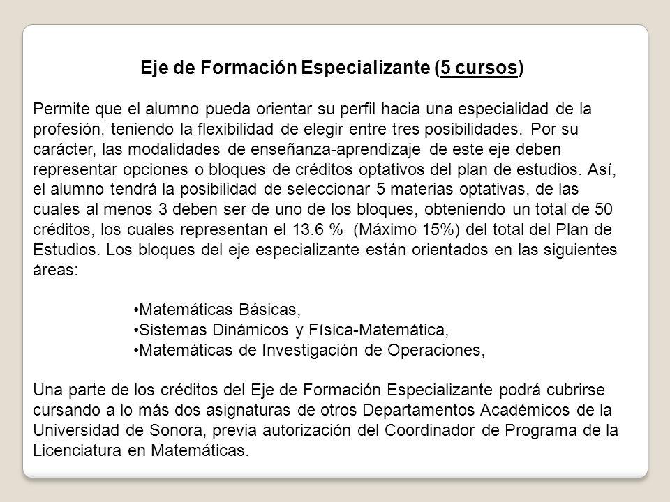 Eje de Formación Especializante (5 cursos) Permite que el alumno pueda orientar su perfil hacia una especialidad de la profesión, teniendo la flexibilidad de elegir entre tres posibilidades.