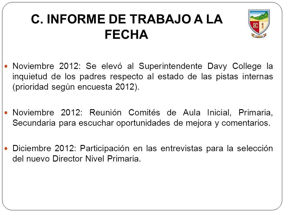 C. INFORME DE TRABAJO A LA FECHA Noviembre 2012: Se elevó al Superintendente Davy College la inquietud de los padres respecto al estado de las pistas