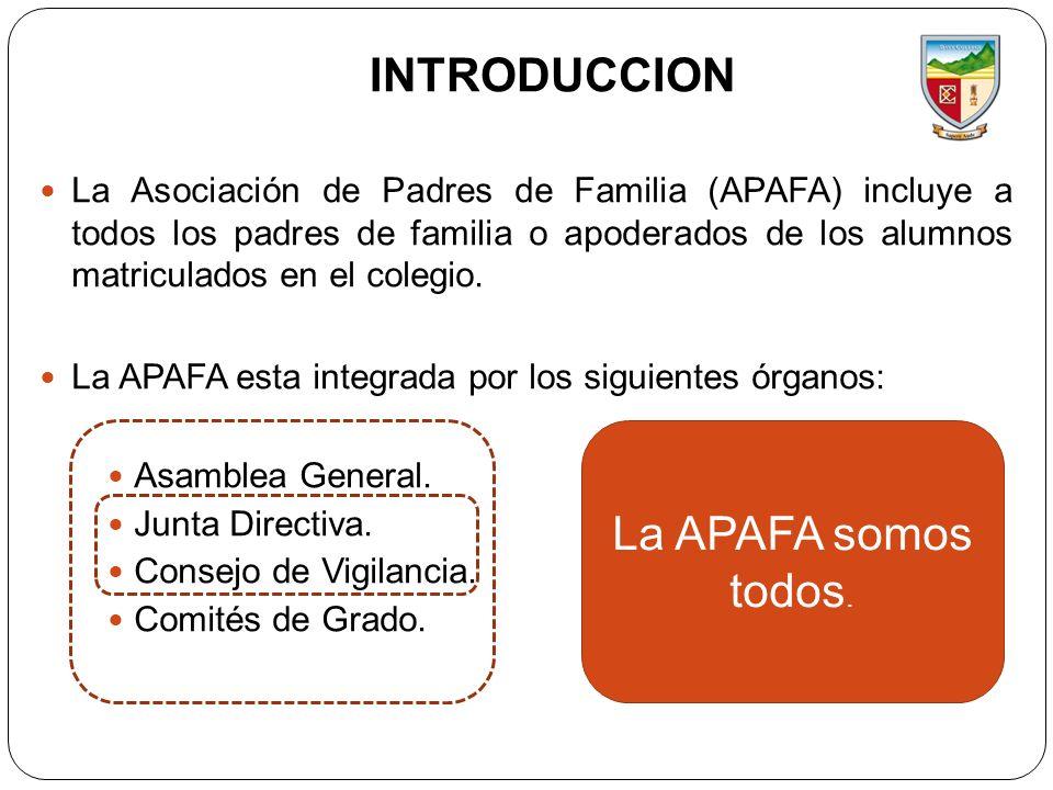 INTRODUCCION De acuerdo al Estatuto de la Asociación de Padres de Familia Davy College (aprobado en el 2012), los objetivos de nuestra asociación son: Participar del proceso educativo a fin de mejorar los niveles educativos de sus hijos.