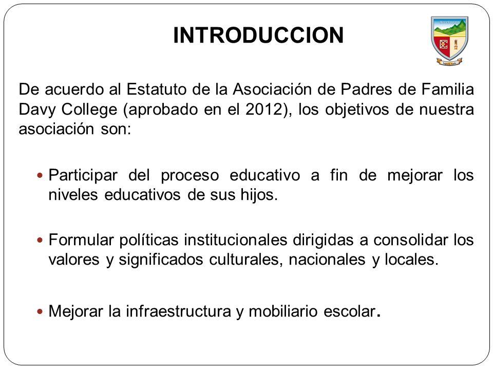 INTRODUCCION De acuerdo al Estatuto de la Asociación de Padres de Familia Davy College (aprobado en el 2012), los objetivos de nuestra asociación son: