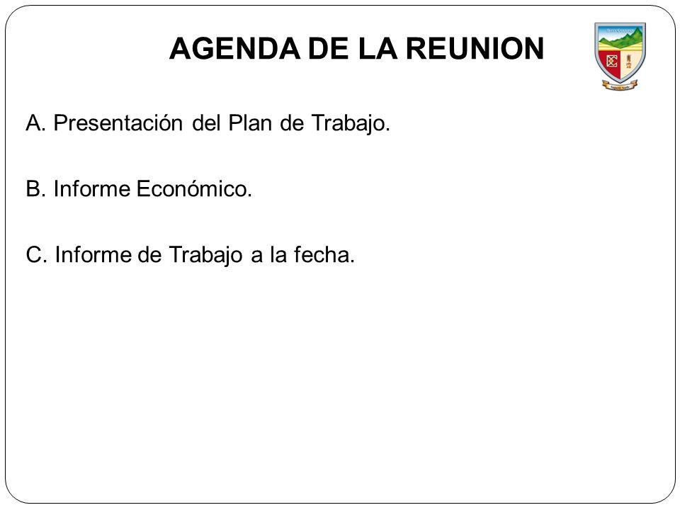 AGENDA DE LA REUNION A. Presentación del Plan de Trabajo. B. Informe Económico. C. Informe de Trabajo a la fecha.