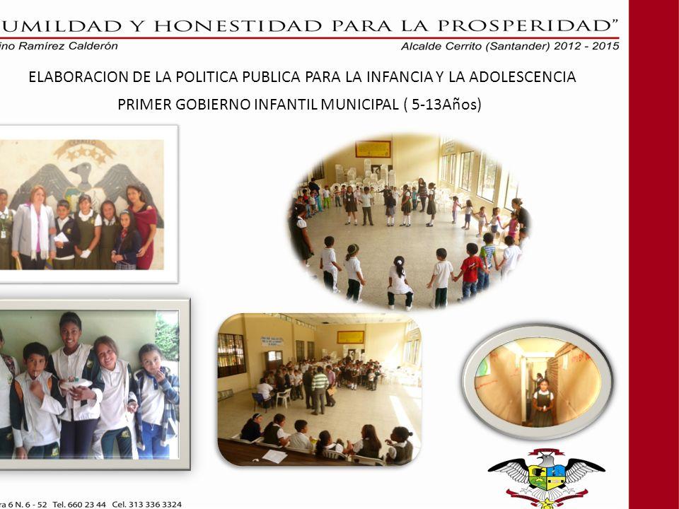 ELABORACION DE LA POLITICA PUBLICA PARA LA INFANCIA Y LA ADOLESCENCIA PRIMER GOBIERNO INFANTIL MUNICIPAL ( 5-13Años)