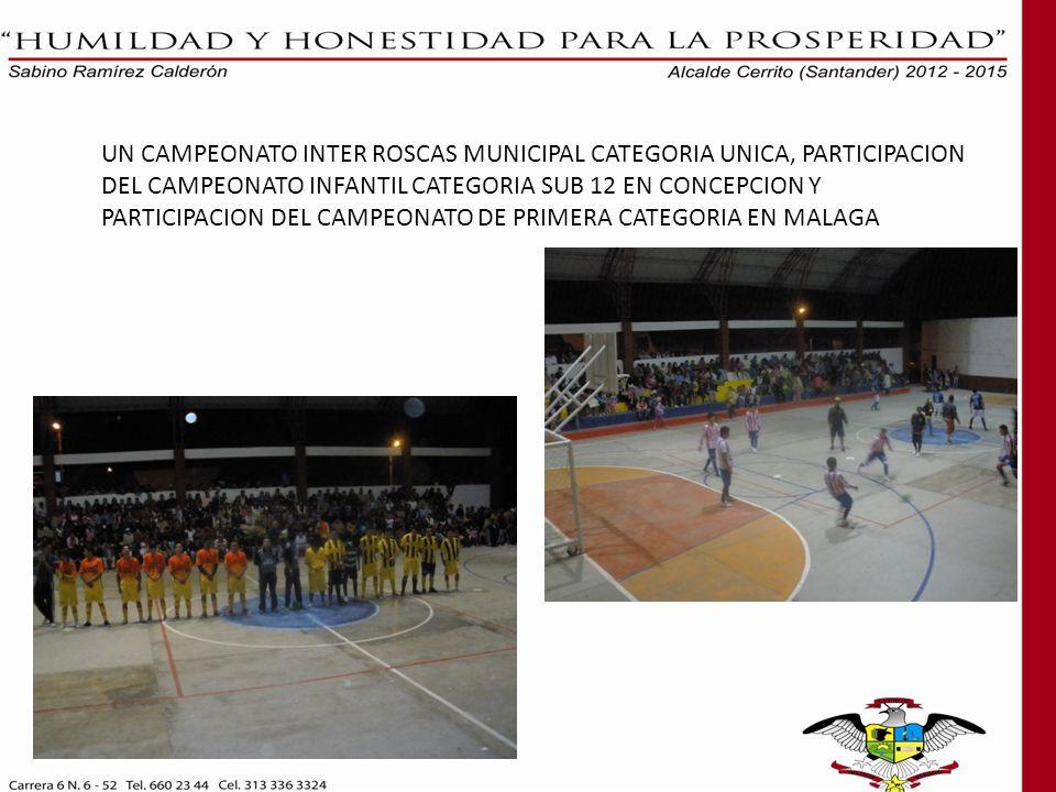 UN CAMPEONATO INTER ROSCAS MUNICIPAL CATEGORIA UNICA, PARTICIPACION DEL CAMPEONATO INFANTIL CATEGORIA SUB 12 EN CONCEPCION Y PARTICIPACION DEL CAMPEONATO DE PRIMERA CATEGORIA EN MALAGA