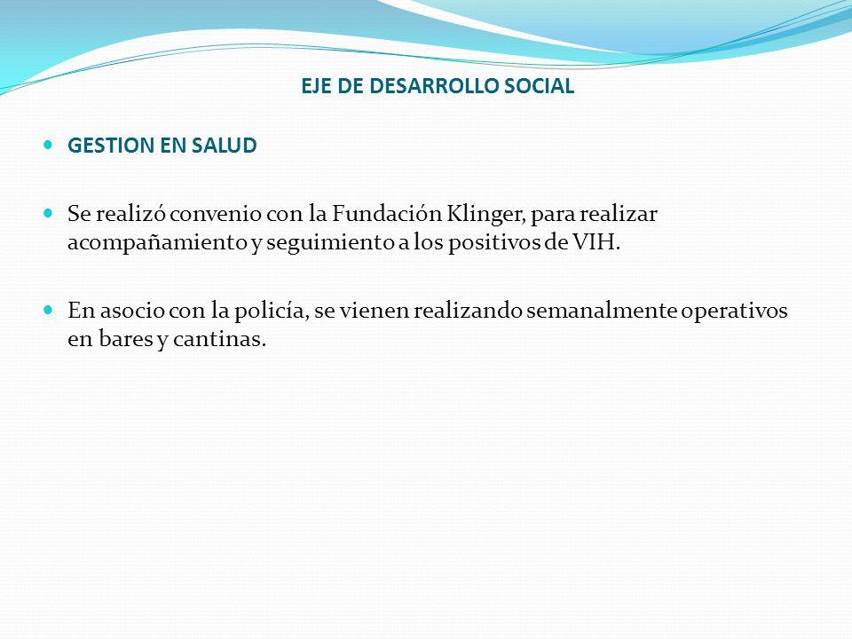 GESTION EN SALUD Se realizó convenio con la Fundación Klinger, para realizar acompañamiento y seguimiento a los positivos de VIH. En asocio con la pol