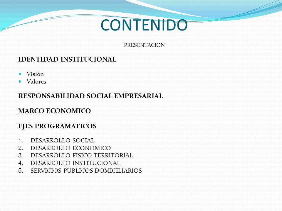 CONTENIDO PRESENTACION IDENTIDAD INSTITUCIONAL Visión Valores RESPONSABILIDAD SOCIAL EMPRESARIAL MARCO ECONOMICO EJES PROGRAMATICOS 1. DESARROLLO SOCI