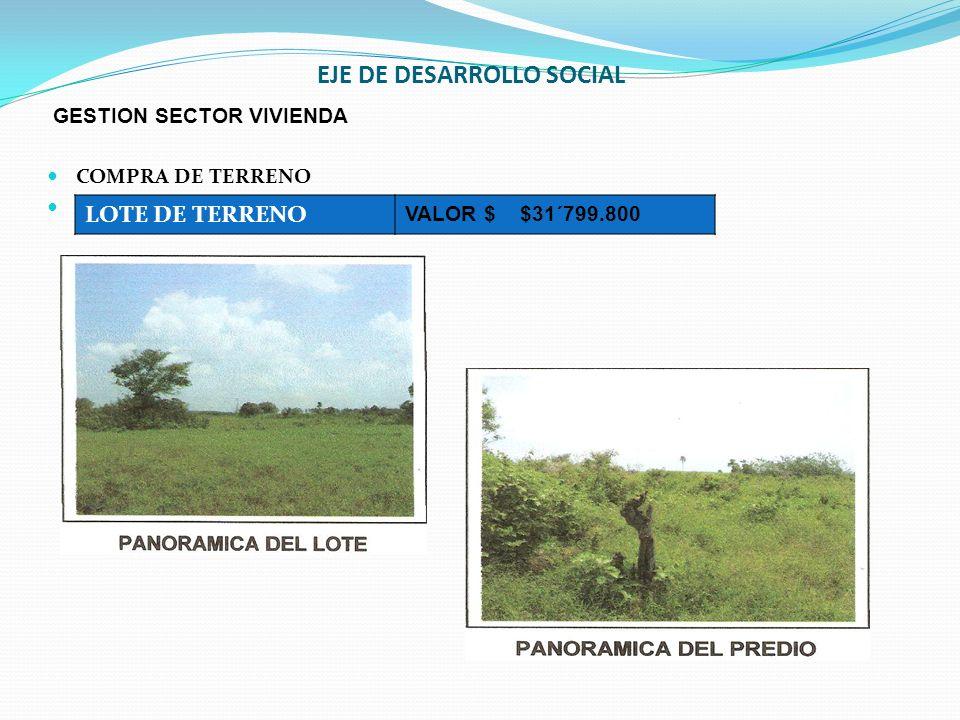 EJE DE DESARROLLO SOCIAL GESTION SECTOR VIVIENDA COMPRA DE TERRENO LOTE DE TERRENO VALOR $ $31´799.800
