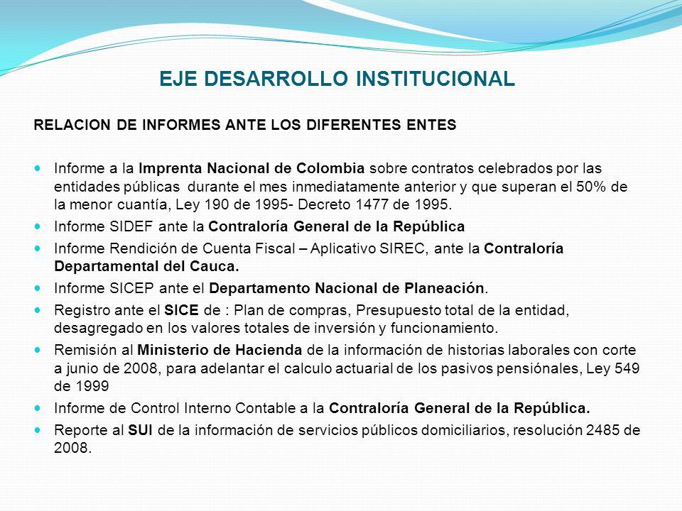 EJE DESARROLLO INSTITUCIONAL RELACION DE INFORMES ANTE LOS DIFERENTES ENTES Informe a la Imprenta Nacional de Colombia sobre contratos celebrados por