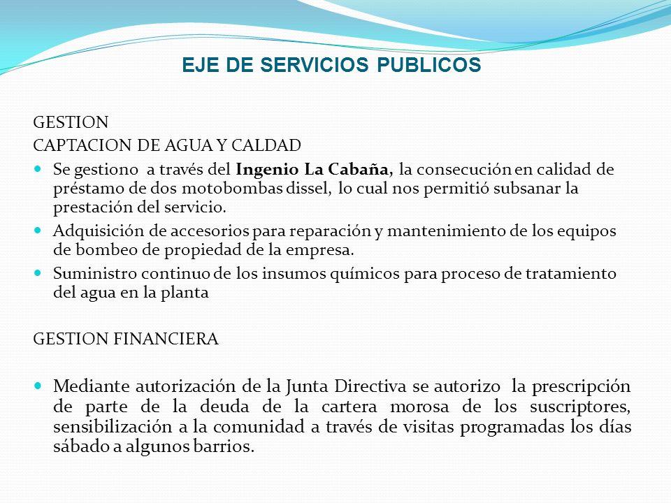 EJE DE SERVICIOS PUBLICOS GESTION CAPTACION DE AGUA Y CALDAD Se gestiono a través del Ingenio La Cabaña, la consecución en calidad de préstamo de dos