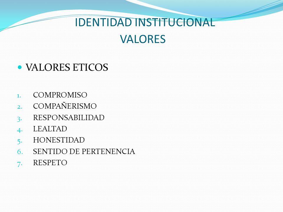 IDENTIDAD INSTITUCIONAL VALORES VALORES ETICOS 1. COMPROMISO 2. COMPAÑERISMO 3. RESPONSABILIDAD 4. LEALTAD 5. HONESTIDAD 6. SENTIDO DE PERTENENCIA 7.