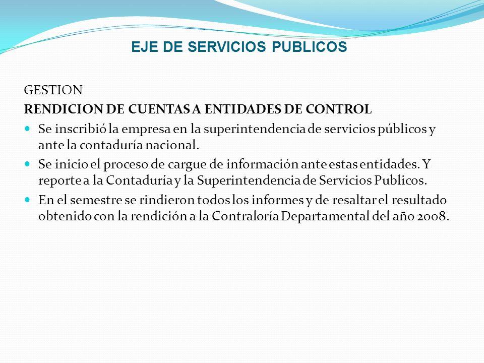 EJE DE SERVICIOS PUBLICOS GESTION RENDICION DE CUENTAS A ENTIDADES DE CONTROL Se inscribió la empresa en la superintendencia de servicios públicos y a