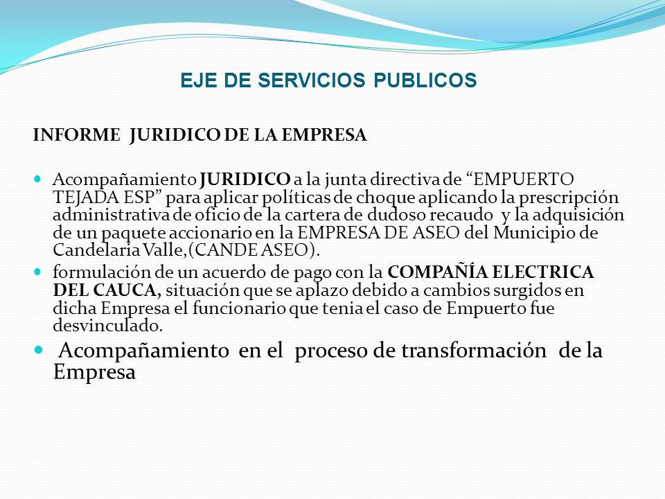 EJE DE SERVICIOS PUBLICOS INFORME JURIDICO DE LA EMPRESA Acompañamiento JURIDICO a la junta directiva de EMPUERTO TEJADA ESP para aplicar políticas de