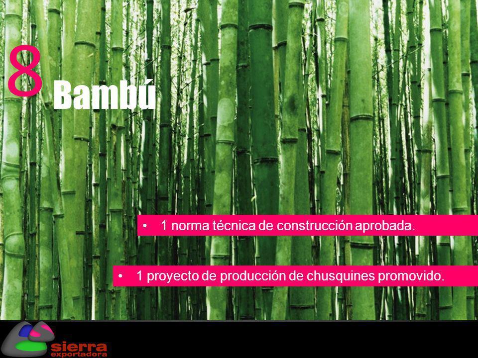1 norma técnica de construcción aprobada. 1 proyecto de producción de chusquines promovido. Bambú 8