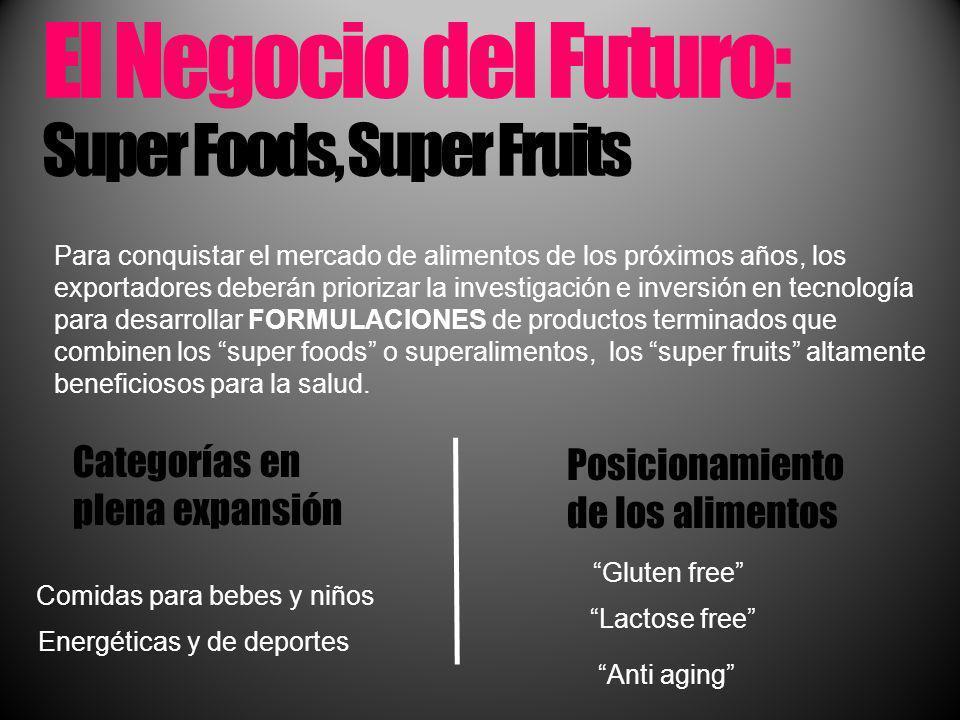 El Negocio del Futuro: Super Foods, Super Fruits Para conquistar el mercado de alimentos de los próximos años, los exportadores deberán priorizar la i