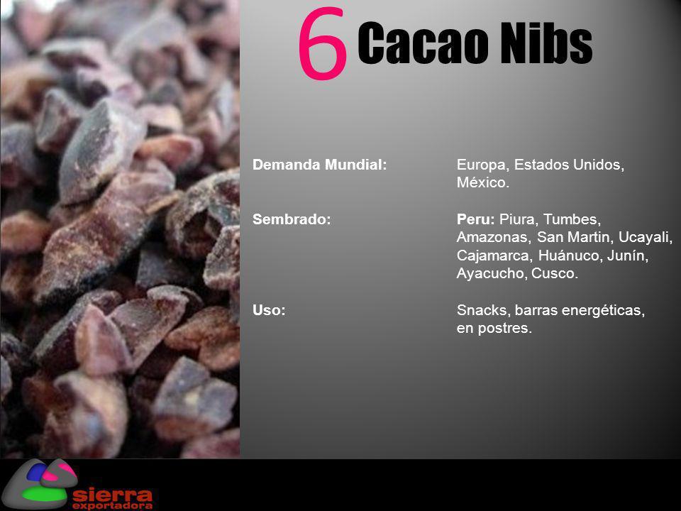 6 Cacao Nibs Demanda Mundial:Europa, Estados Unidos, México. Sembrado: Peru: Piura, Tumbes, Amazonas, San Martin, Ucayali, Cajamarca, Huánuco, Junín,