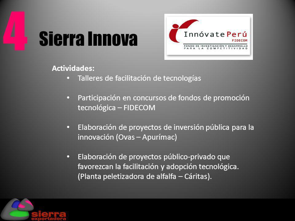 Sierra Innova 4 Actividades: Talleres de facilitación de tecnologías Participación en concursos de fondos de promoción tecnológica – FIDECOM Elaboraci