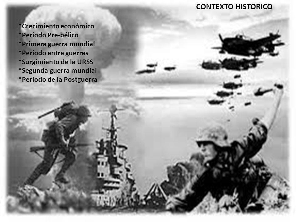 CONTEXTO HISTORICO *Crecimiento económico *Periodo Pre-bélico *Primera guerra mundial *Periodo entre guerras *Surgimiento de la URSS *Segunda guerra m