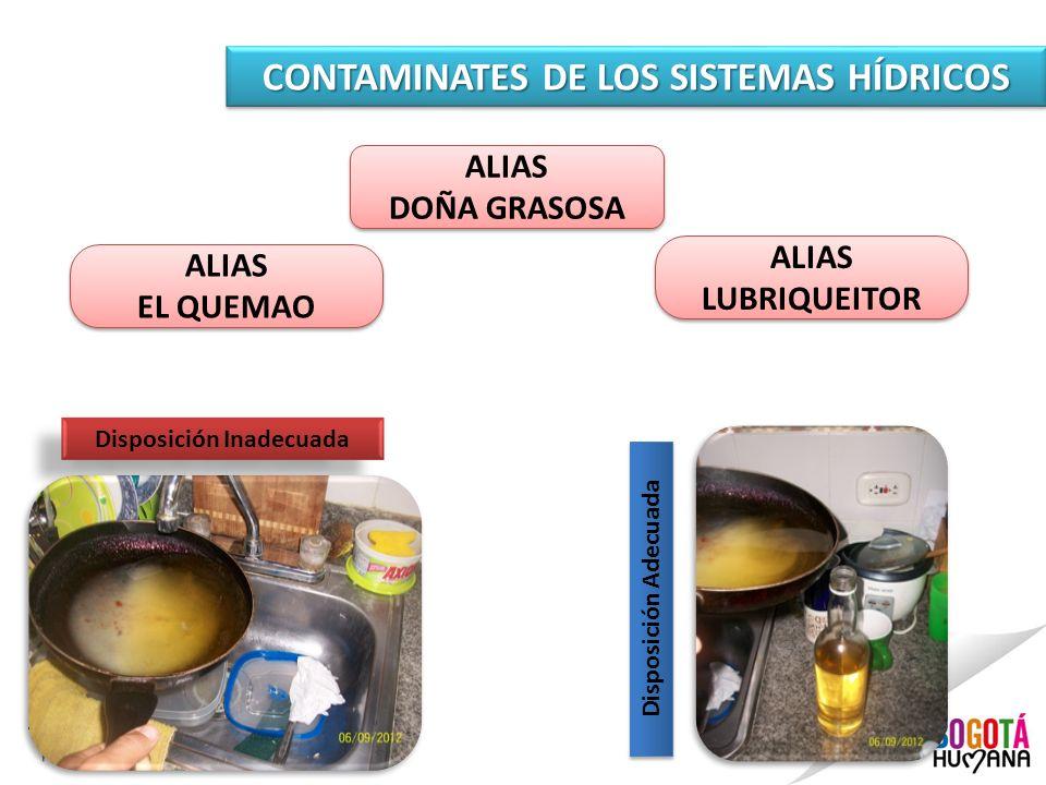 CONTAMINATES DE LOS SISTEMAS HÍDRICOS ALIAS DOÑA GRASOSA ALIAS DOÑA GRASOSA Disposición Inadecuada Disposición Adecuada ALIAS EL QUEMAO ALIAS EL QUEMA