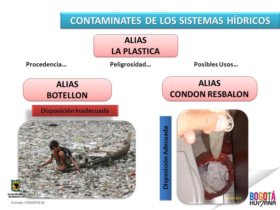 CONTAMINATES DE LOS SISTEMAS HÍDRICOS ALIAS LA PLASTICA ALIAS LA PLASTICA Disposición Adecuada Procedencia…Peligrosidad…Posibles Usos… ALIAS BOTELLON