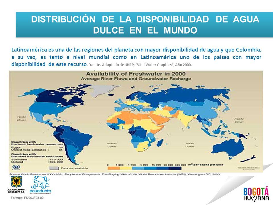 Latinoamérica es una de las regiones del planeta con mayor disponibilidad de agua y que Colombia, a su vez, es tanto a nivel mundial como en Latinoamé