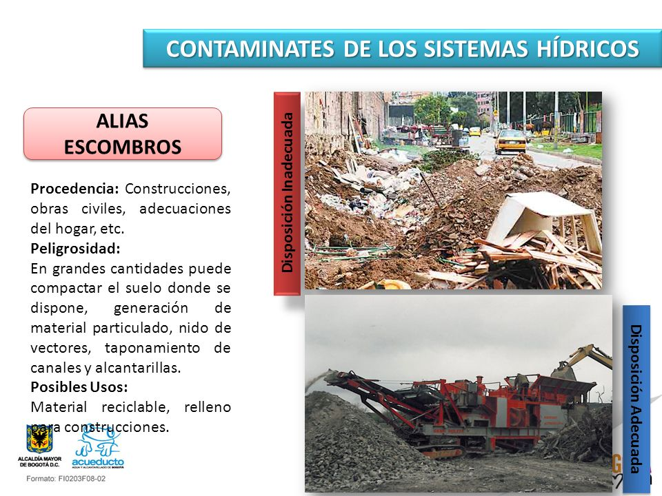 CONTAMINATES DE LOS SISTEMAS HÍDRICOS ALIAS ESCOMBROS ALIAS ESCOMBROS Procedencia: Construcciones, obras civiles, adecuaciones del hogar, etc. Peligro