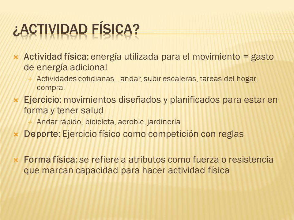 Actividad física: energía utilizada para el movimiento = gasto de energía adicional Actividades cotidianas…andar, subir escaleras, tareas del hogar, c