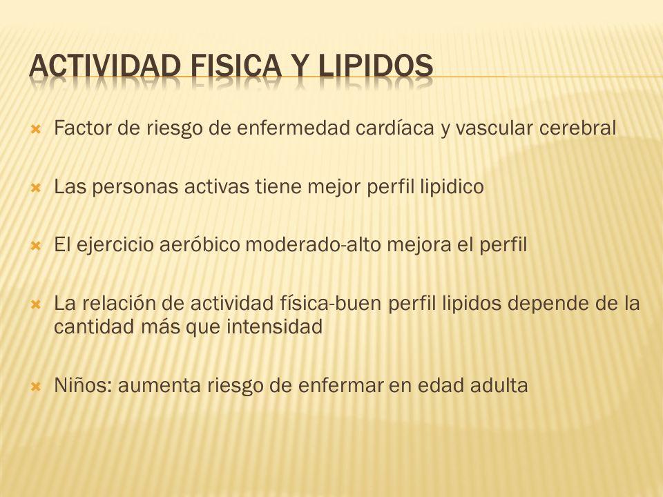 Factor de riesgo de enfermedad cardíaca y vascular cerebral Las personas activas tiene mejor perfil lipidico El ejercicio aeróbico moderado-alto mejor