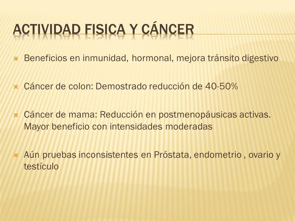 Beneficios en inmunidad, hormonal, mejora tránsito digestivo Cáncer de colon: Demostrado reducción de 40-50% Cáncer de mama: Reducción en postmenopáus