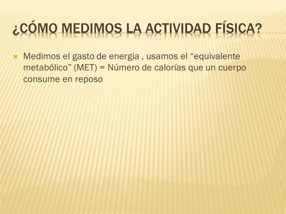 Medimos el gasto de energia, usamos el equivalente metabólico (MET) = Número de calorías que un cuerpo consume en reposo