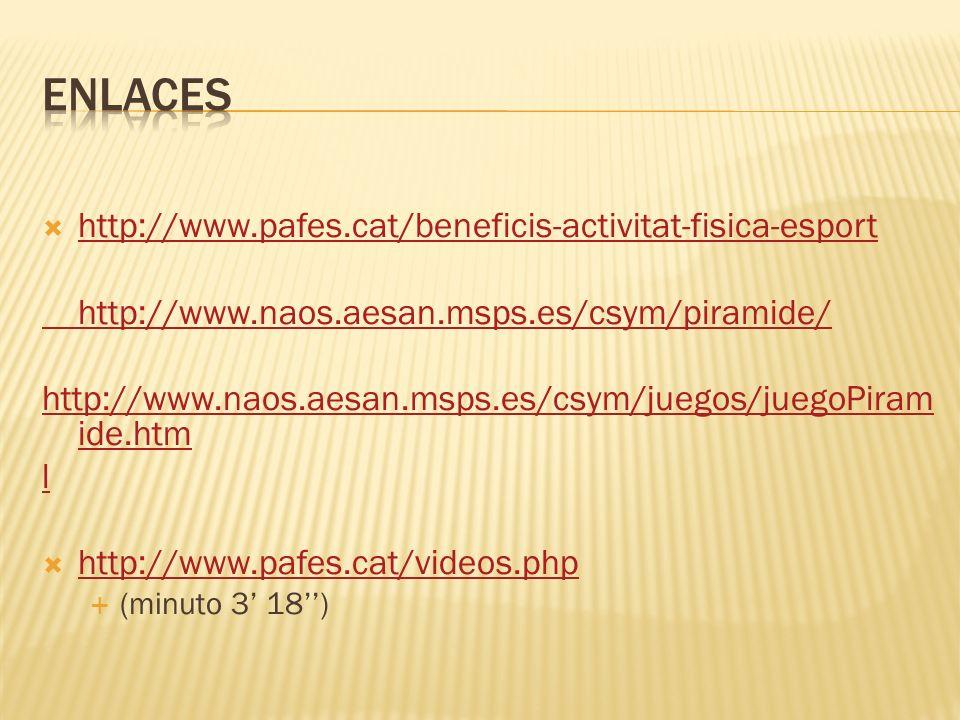 http://www.pafes.cat/beneficis-activitat-fisica-esport http://www.naos.aesan.msps.es/csym/piramide/ http://www.naos.aesan.msps.es/csym/juegos/juegoPir